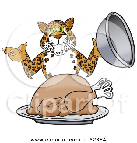 Royalty-Free (RF) Clipart Illustration of a Cheetah, Jaguar or Leopard Character School Mascot Serving A Thanksgiving Turkey by Toons4Biz