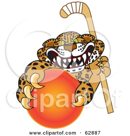 Royalty-Free (RF) Clipart Illustration of a Cheetah, Jaguar or Leopard Character School Mascot Grabbing a Hockey Ball by Toons4Biz
