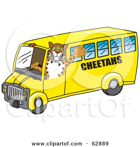 Royalty-Free (RF) Clipart Illustration of a Cheetah Character School Mascot Driving A Bus by Toons4Biz