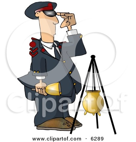 United States Salvation Army Attendant Saluting Beside a Donation Container Clipart Picture by djart