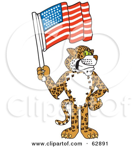 Royalty-Free (RF) Clipart Illustration of a Cheetah, Jaguar or Leopard Character School Mascot Holding An American Flag by Toons4Biz