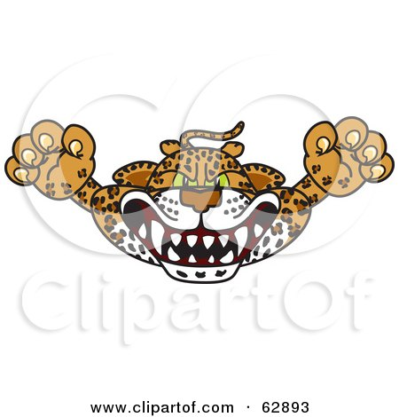 Royalty-Free (RF) Clipart Illustration of a Cheetah, Jaguar or Leopard Character School Mascot Lurching Forward by Toons4Biz
