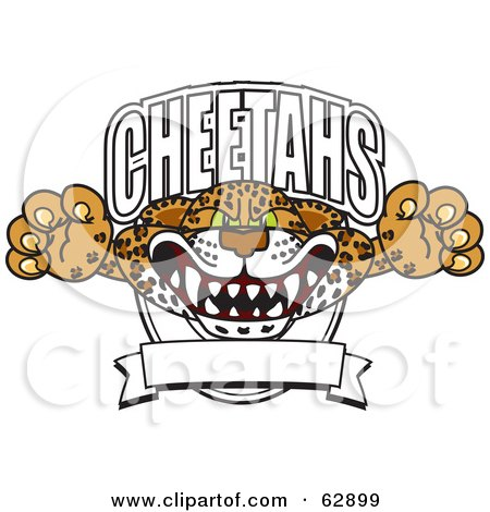 Royalty-Free (RF) Clipart Illustration of a Cheetah Character School Mascot Lurching Out Of A Banner by Toons4Biz