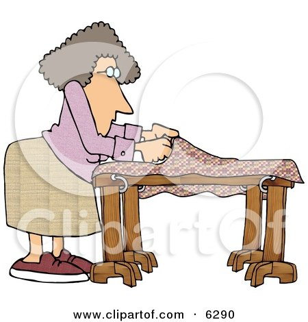 Woman Making a Quilt Clipart Picture by djart