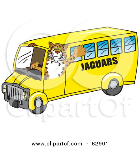 Royalty-Free (RF) Clipart Illustration of a Jaguar Character School Mascot Driving a Bus by Toons4Biz