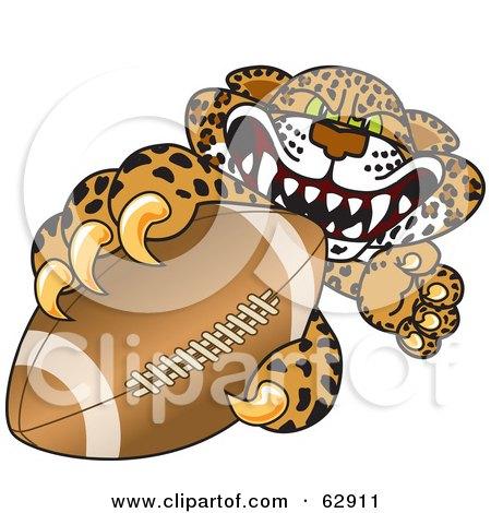 Royalty-Free (RF) Clipart Illustration of a Cheetah, Jaguar or Leopard Character School Mascot Grabbing a Football by Toons4Biz