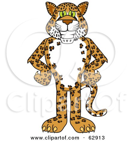 Royalty-Free (RF) Clipart Illustration of a Cheetah, Jaguar or Leopard Character School Mascot With His Hands On His Hips by Toons4Biz