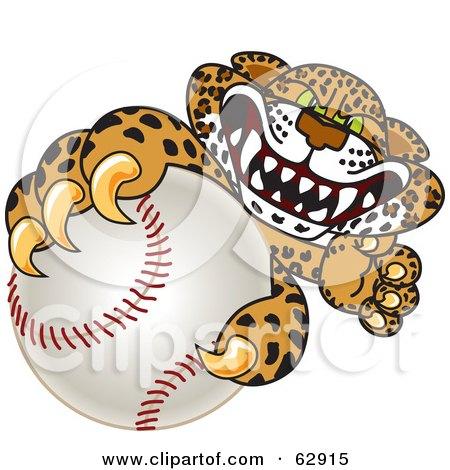 Royalty-Free (RF) Clipart Illustration of a Cheetah, Jaguar or Leopard Character School Mascot Grabbing a Baseball by Toons4Biz