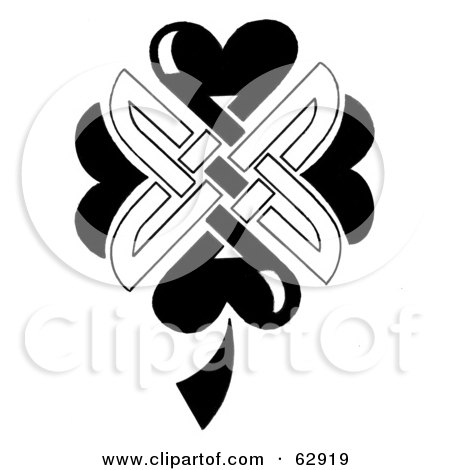 Royalty-Free (RF) Clipart Illustration of a Black And White Celtic Shamrock Knot by LoopyLand