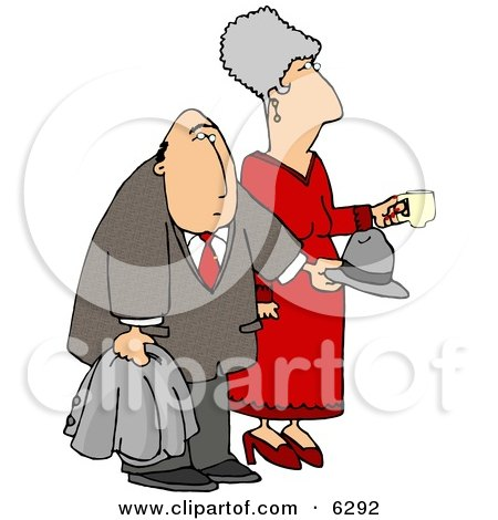 Elderly Couple at a Party Clipart Picture by djart