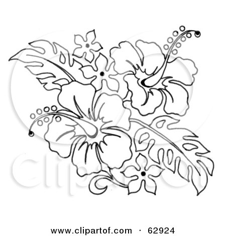 Black And White Hibiscus Flower Bouquet Posters Art