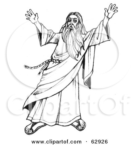 Royalty-Free (RF) Clipart Illustration of Moses In Black And White, Holding Up His Arms by LoopyLand