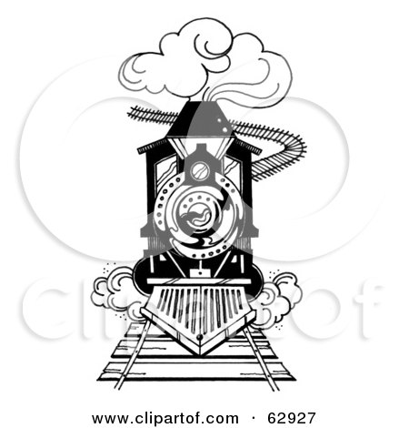 Royalty-Free (RF) Clipart Illustration of a Black And White Steam Train Rushing Forward On A Track by LoopyLand