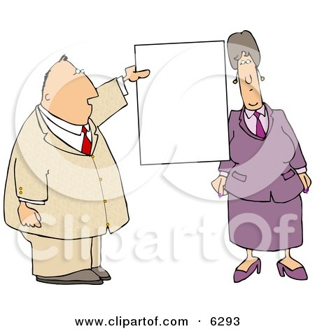 Business couple with a Blank Sign Clipart Picture by djart