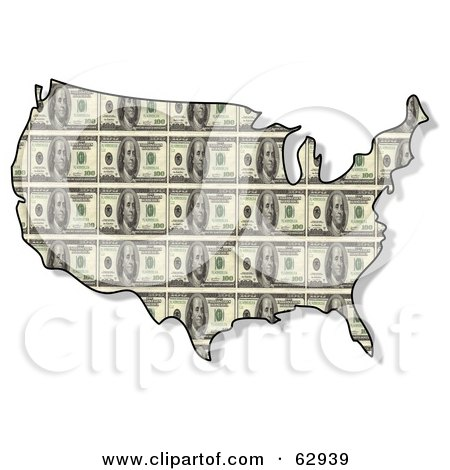 Royalty-free ecology clipart picture of a USA map with a one hundred dollar