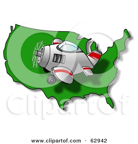 Royalty-Free (RF) Clipart Illustration of a Plane Flying Left Over A Green USA Map by djart