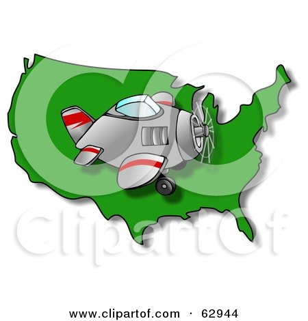 Royalty-Free (RF) Clipart Illustration of a Plane Flying Right Over A Green USA Map by djart