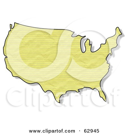 Royalty-Free (RF) Clipart Illustration of a Crinkled Yellow Paper Textured USA Map by djart