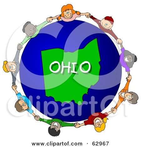 Royalty-Free (RF) Clipart Illustration of Children Holding Hands In A Circle Around An Ohio Globe by djart