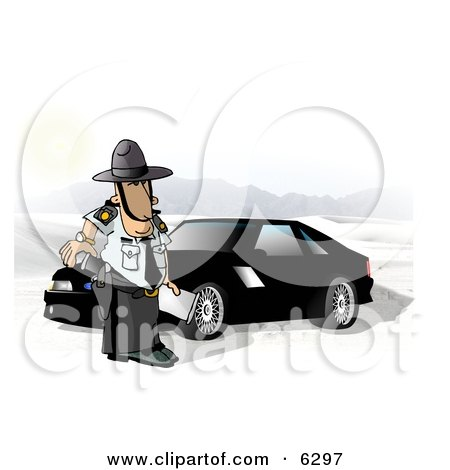State Trooper Standing Beside a Ford Mustang Car Clipart Picture by djart