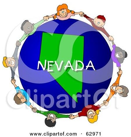 Royalty-Free (RF) Clipart Illustration of Children Holding Hands In A Circle Around A Nevada Globe by djart