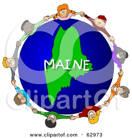 Royalty-Free (RF) Clipart Illustration of Children Holding Hands In A Circle Around A Maine Globe by djart