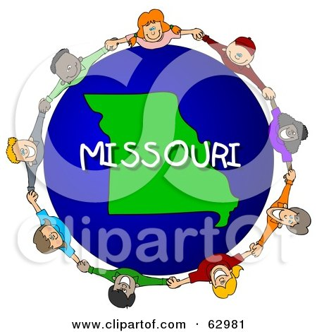 Royalty-Free (RF) Clipart Illustration of Children Holding Hands In A Circle Around A Missouri Globe by djart