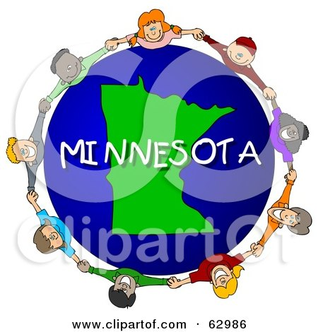 Royalty-Free (RF) Clipart Illustration of Children Holding Hands In A Circle Around A Minnesota Globe by djart