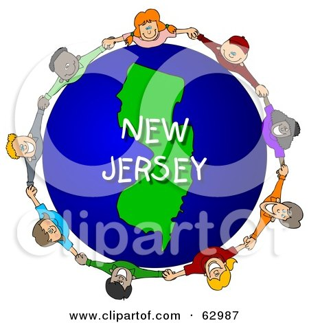 Royalty-Free (RF) Clipart Illustration of Children Holding Hands In A Circle Around A New Jersey Globe by djart