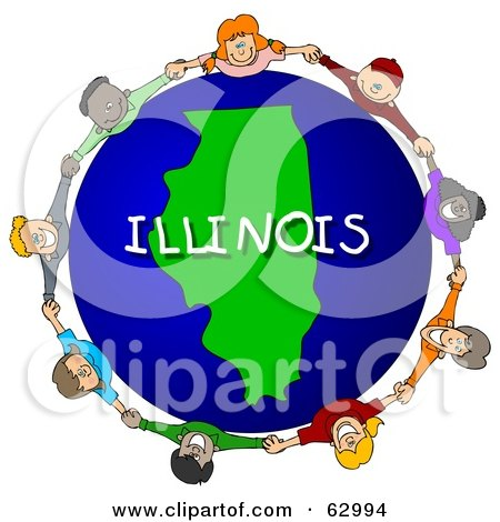 Royalty-Free (RF) Clipart Illustration of Children Holding Hands In A Circle Around An Illinois Globe by djart