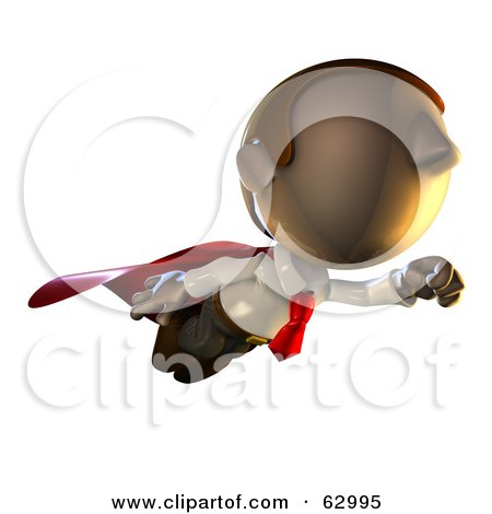 Royalty-Free (RF) Clipart Illustration of a Super Hero Pete Man Character Flying by AtStockIllustration