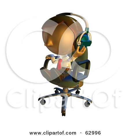 Royalty-Free (RF) Clipart Illustration of a Pete Man Character Sitting In A Chair And Wearing Headphones by AtStockIllustration