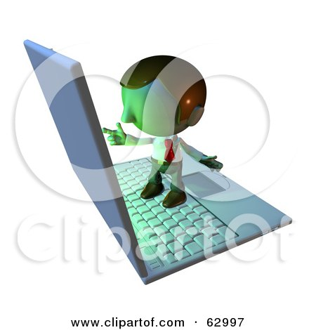 Royalty-Free (RF) Clipart Illustration of a Pete Man Character Standing On A Laptop And Pointing At The Screen by AtStockIllustration