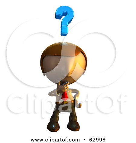 Royalty-Free (RF) Clipart Illustration of a Pete Man Character Pondering by AtStockIllustration
