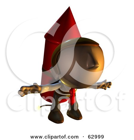 Royalty-Free (RF) Clipart Illustration of a Pete Man Character Prepared To Take Off While Strapped To A Rocket by AtStockIllustration