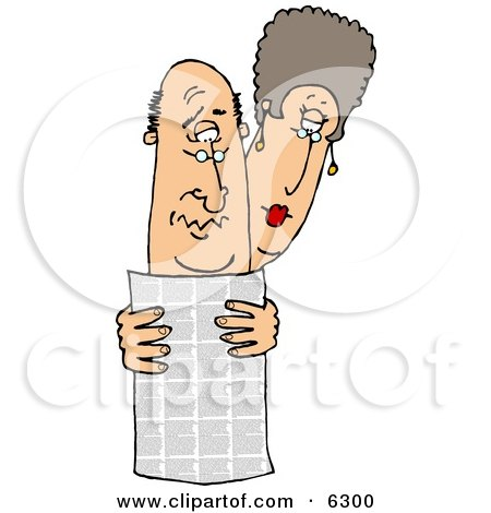 Man and Woman Reading the Local Newspaper Together Clipart Picture by djart