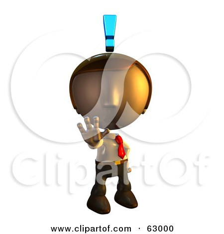 Royalty-Free (RF) Clipart Illustration of a Pete Man Character Holding Out His Hand With An Exclamation Point Above His Head by AtStockIllustration