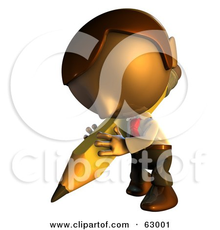 Royalty-Free (RF) Clipart Illustration of a Pete Man Character Writing With A Pencil by AtStockIllustration