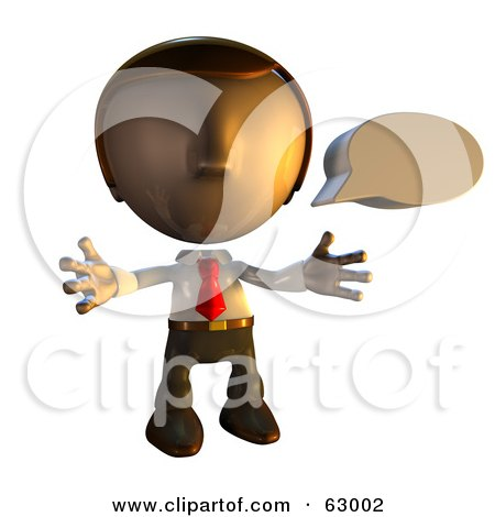 Royalty-Free (RF) Clipart Illustration of a Pete Man Character With A Speech Bubble by AtStockIllustration