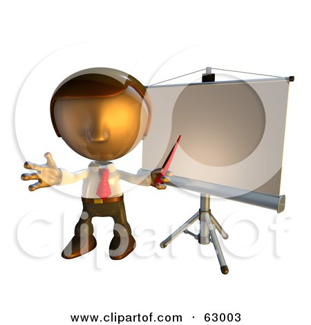 Royalty-Free (RF) Clipart Illustration of a Pete Man Character Standing In Front Of A Presentation Board by AtStockIllustration