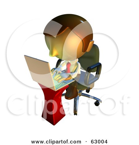 Royalty-Free (RF) Clipart Illustration of a Pete Man Character Typing On A Laptop by AtStockIllustration