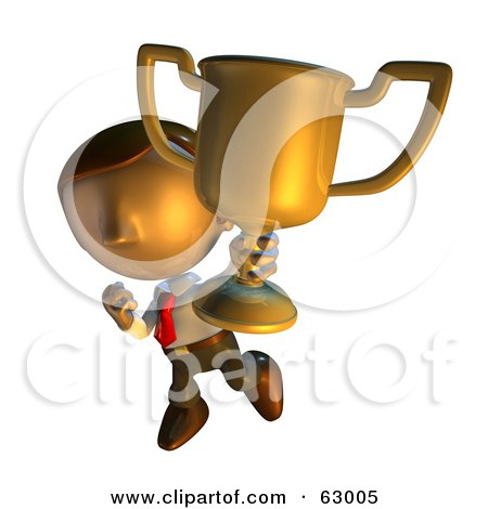 Royalty-Free (RF) Clipart Illustration of a Pete Man Character Showing Off His Trophy Cup by AtStockIllustration