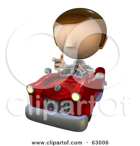 Royalty-Free (RF) Clipart Illustration of a Pete Man Character With Road Rage, Driving A Convertible Car by AtStockIllustration