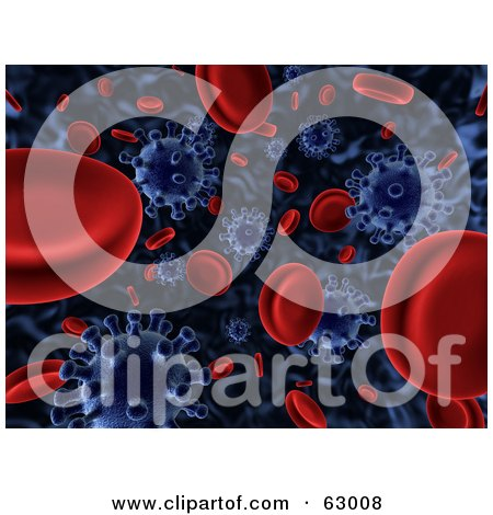 Royalty-Free (RF) Clipart Illustration of a 3d Background Of Floating Blue Viruses Attacking Red Blood Cells by AtStockIllustration