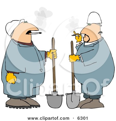 Two Workers Smoking Cigarettes While Holding Shovels Posters, Art Prints
