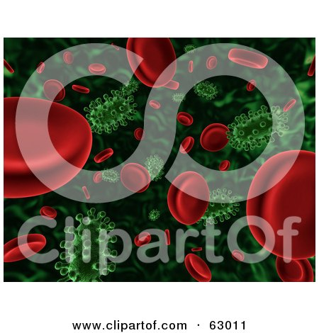 Royalty-Free (RF) Clipart Illustration of a 3d Background Of Floating Green Viruses Attacking Red Blood Cells by AtStockIllustration