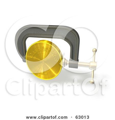 Royalty-Free (RF) Clipart Illustration of a 3d Clamp Vice Squeezing A Gold Coin, Credit Crunge by AtStockIllustration