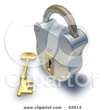 Royalty-Free (RF) Clipart Illustration of a 3d Golden Skeleton Key In Front Of A Shiny Padlock by AtStockIllustration