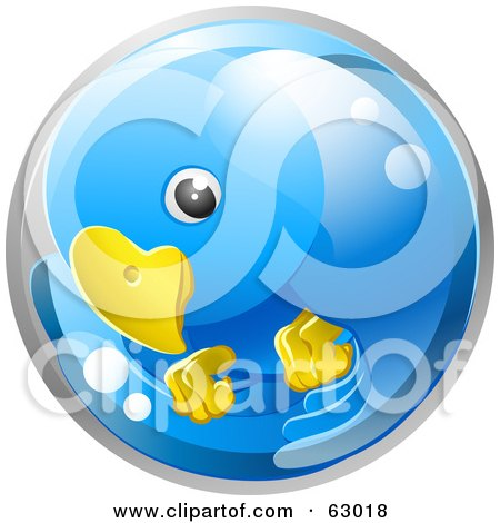 Royalty-Free (RF) Clipart Illustration of a 3d Blue Circling Bird In A Bubble by AtStockIllustration