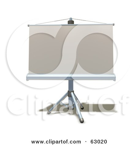 Royalty-Free (RF) Clipart Illustration of a 3d Roll Down Projection Screen On A Tripod by AtStockIllustration